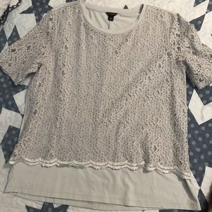 Ann Taylor lace layer top. Gray.